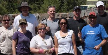 A team of corporate volunteers