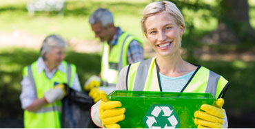 A lady taking part in a recycling project