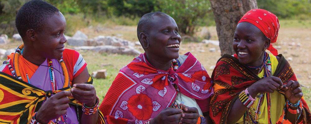 Mamas beading in Kenya