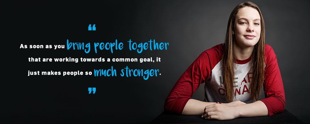 Quote. As soon as you bring people together that are working towards a common goal, it just makes people so much stronger. Unquote.