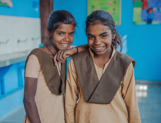 Two students at a school in India