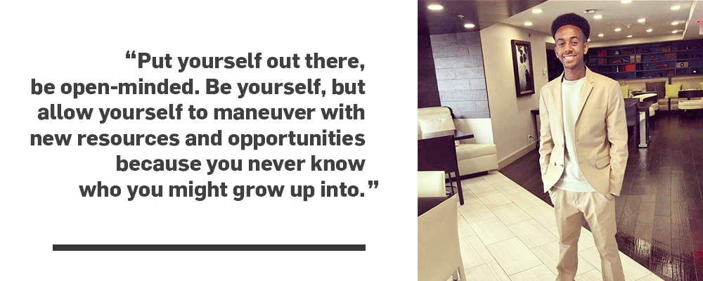 Quote put yourself out there, be open-minded. Be yourself, but allow yourself to maneuver with new resources and opportunities because you never know who you might grow up into unquote.