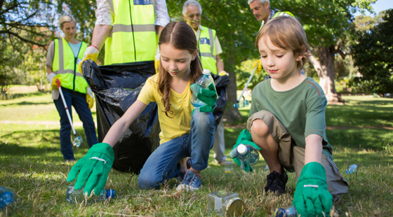 Children taking part in an environmental effort
