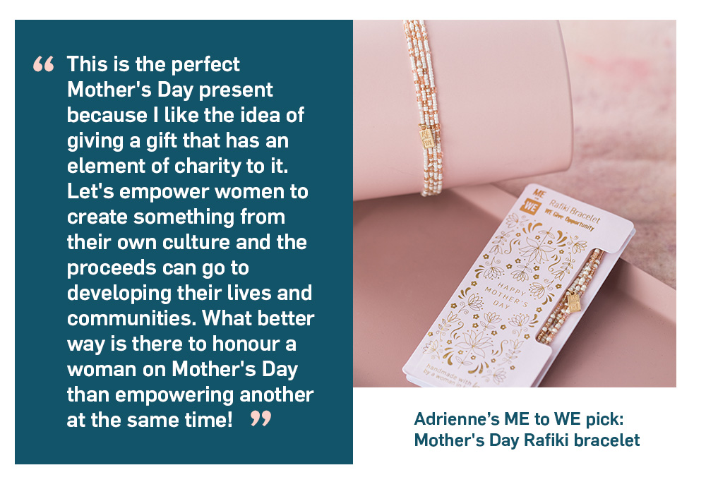 Quote. This is the perfect Mother's Day present because I like the idea of giving a gift that has an element of charity to it. Let's empower women to create something from their own culture and the proceeds can go to developing their lives and communities. What better way is there to honour a woman on Mother's Day than empowering another at the same time! Unquote.