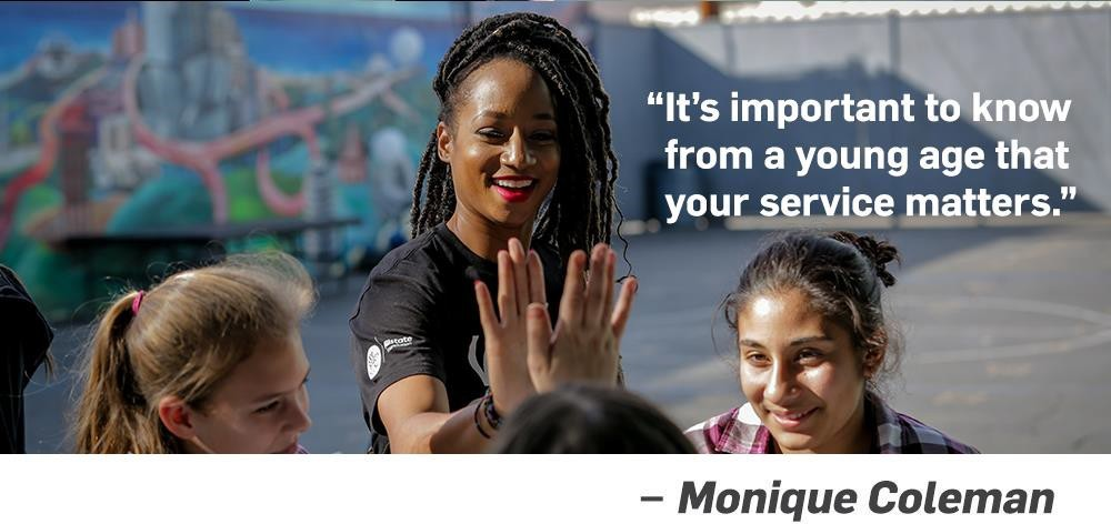 Quote. It's important to know from a young age that your service matters. Unquote. Monique Coleman.