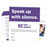 Examples of the WE Are Silent fundraising resources.