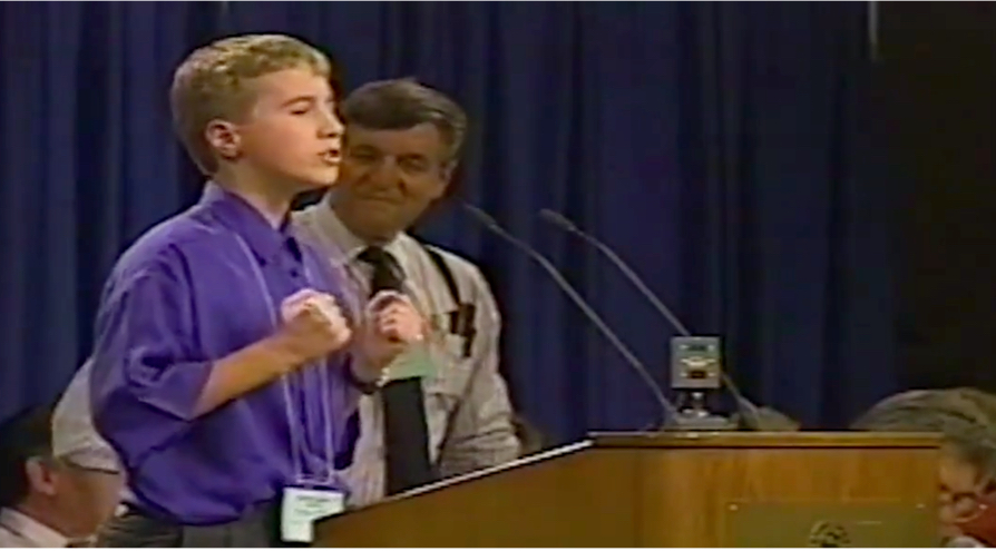 Craig Kielburger at age 12, speaking at an event