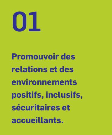 01 Promouvoir des relations et des environnements positifs, inclusifs, sécuritaires et accueillants.