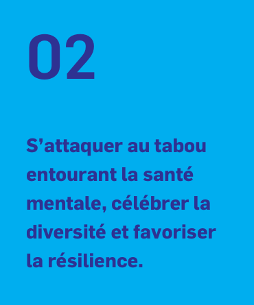 02 S'attaquer au tabou entourant la santé mentale, célébrer la diversité et favoriser la résilience.