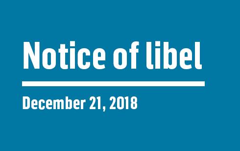 Notice of Libel   December 21, 2018