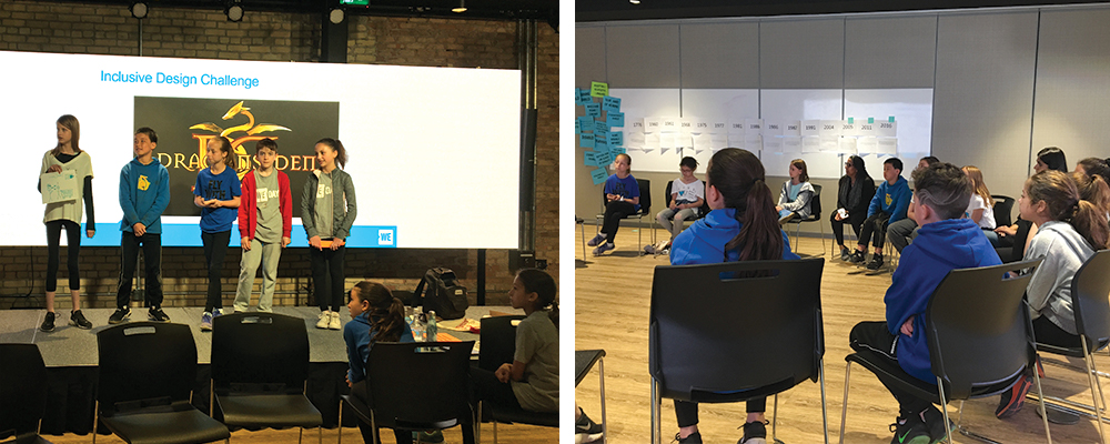 Left: Children present their designs on stage as part of the Inclusive Design Challenge. Right: Students sit in chairs in a circle in front of whiteboard at the WE Global Learning Center.