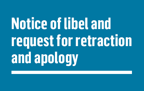 Notice of libel and request for retraction and apology