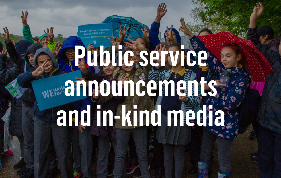 Public service announcements and in-kind media