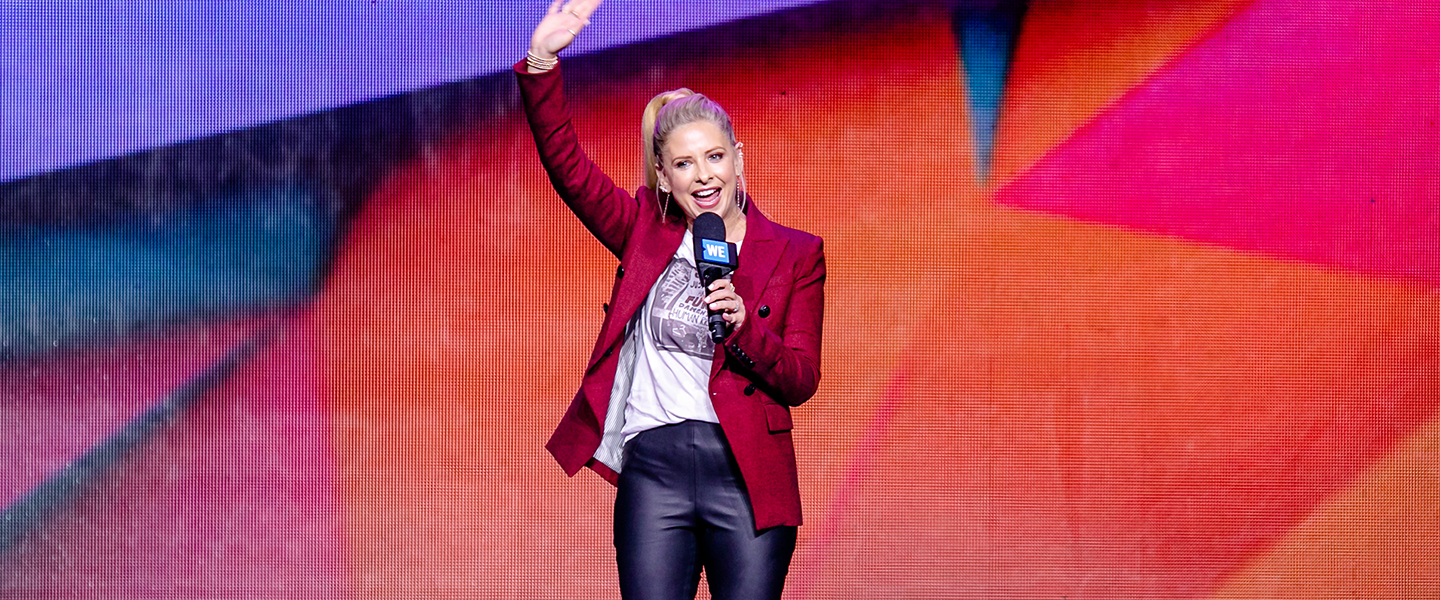 Actress, author and entrepreneur Sarah Michelle Gellar speaks to youth and educators at WE Day UN, at the Barclays Center on September 20, 2018. Photo credit: Vito Amati