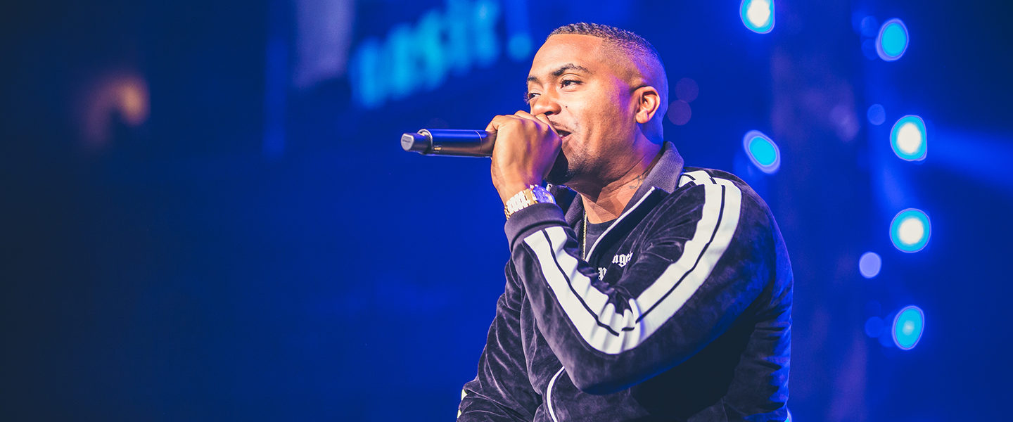 Award-winning hip-hop superstar Nas performs to youth and educators at WE Day UN at the Barclays Center on September 20, 2018. Photo credit: Ryan Bolton
