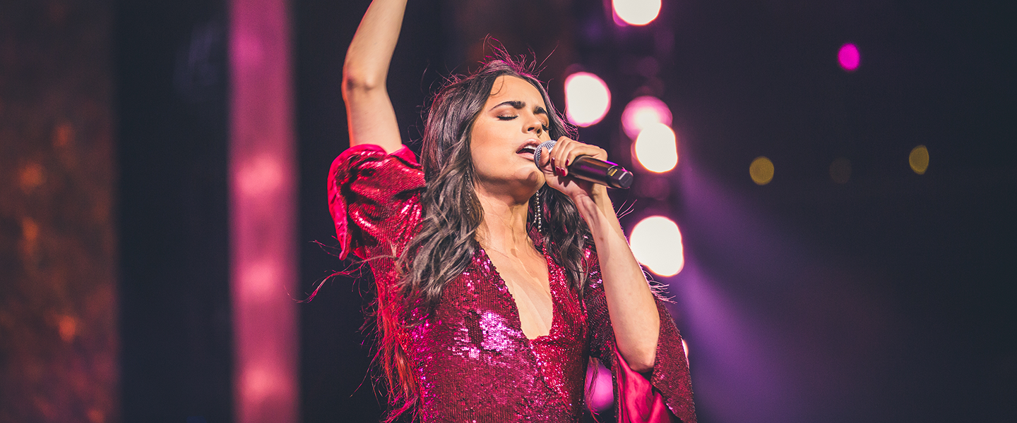 Singer and actress Sofia Carson performs for youth and educators at WE Day UN, at the Barclays Center on September 20, 2018. Photo credit: Ryan Bolton