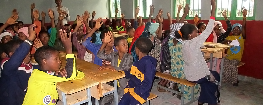 Learning in new classroom in Ethiopia