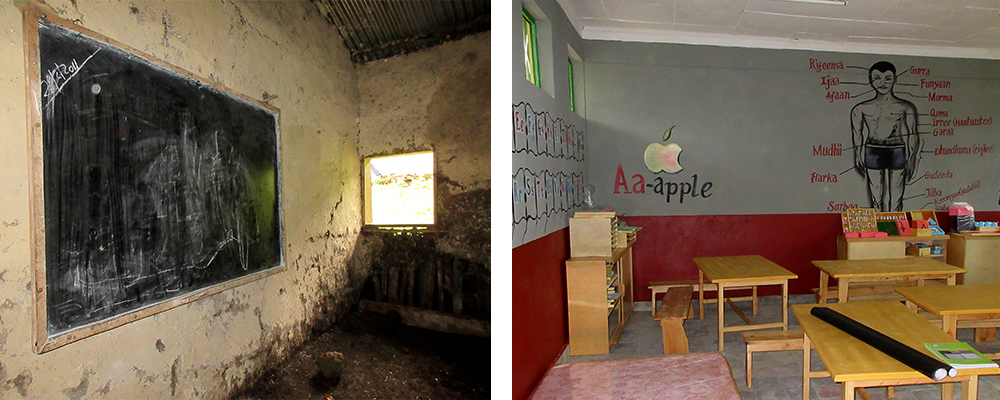 Comparing old classroom and new classroom in Ethiopia