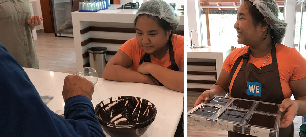 Left: Scarlet watches chocolate being made. Right: Scarlet holds her chocolate molds.