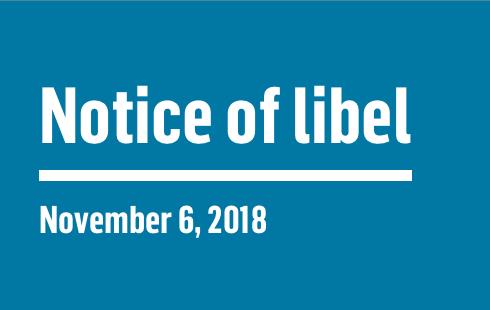 Notice of Libel   November 6, 2018