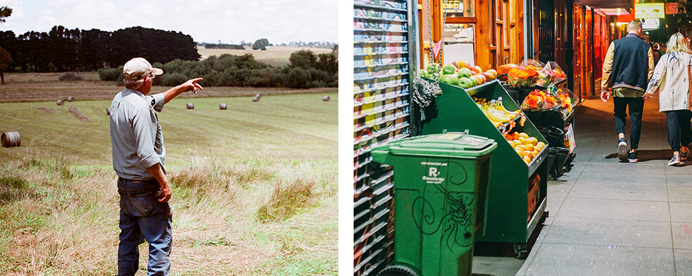 Left: a farmer stands in a field. Right: fruits and vegetables at an outdoor grocer.