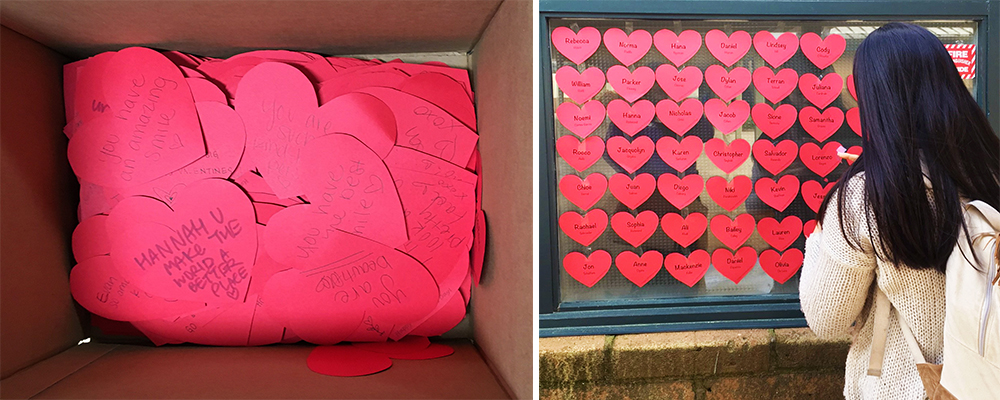 Paper hearts with kind notes written on them created by students at Carmel High School.