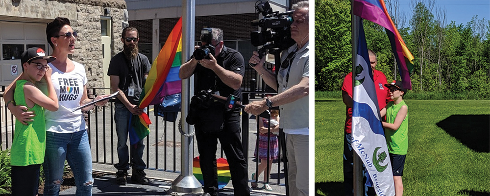 Left: Sophie Smith-Doré and her son Ethan at the ceremony raising the Pride flag at Arnprior city hall. Right: Councillor Scott Brum invites Ethan to raise the Pride flag at the McNabb-Braeside township office.