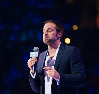 Advisory Board Member Jeff Skoll speaking from the WE Day California stage in 2014.