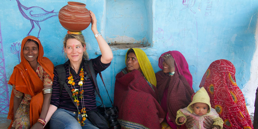 A volunteer in India
