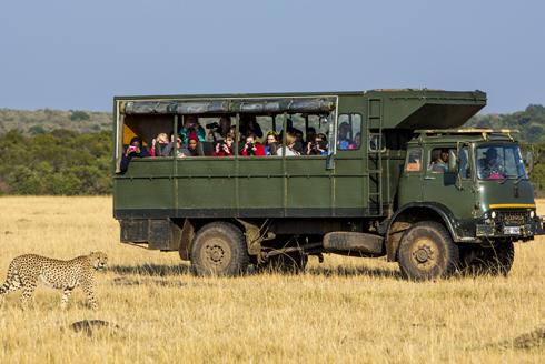 Travellers on safari in Kenya