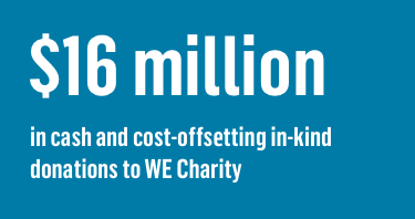 $16 million in cash and cost-offsetting in-kind donations to WE Charity