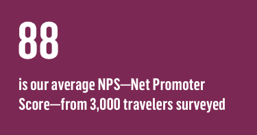 88 is our average NPS—Net Promoter Score—from 3,000 travelers surveyed