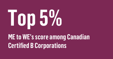 Top 5% ME to WE's score among Canadian Certified B Corporations