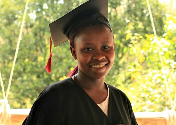 Girl in graduation dress